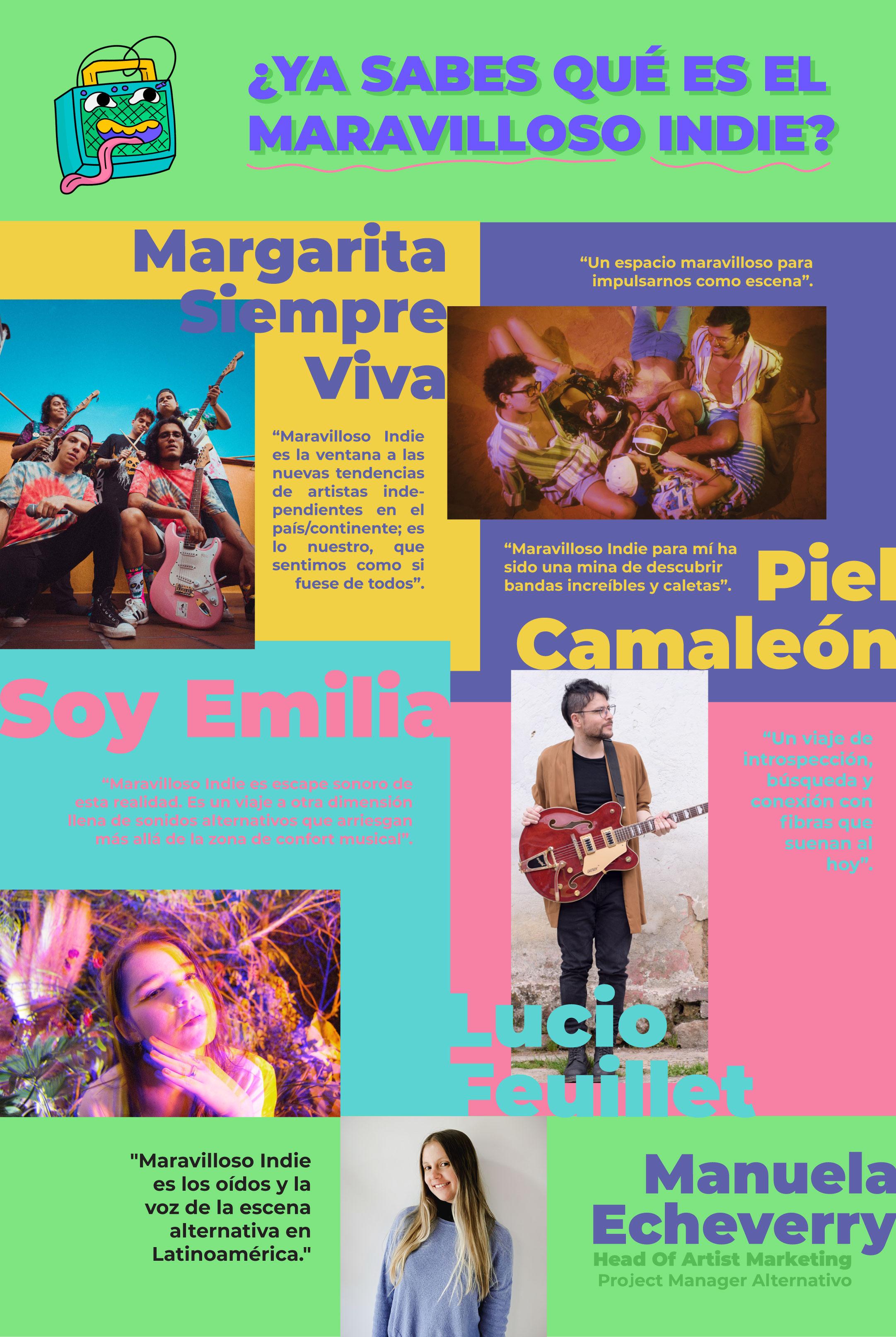 musica alternativa. soy emilia, lucio feuillet, margarita siempre viva, piel camaleon. onerpm latino.